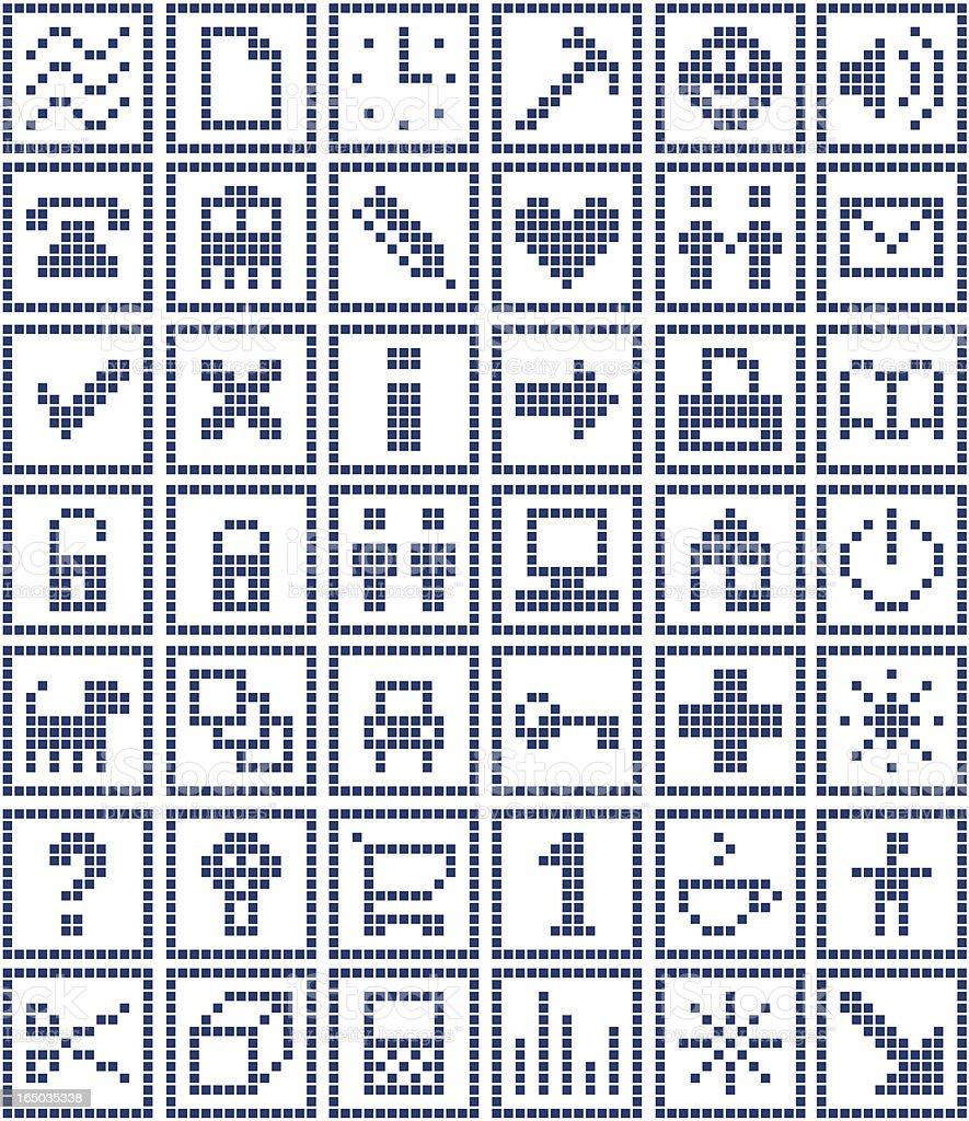 Pixel Symbols Set 1/2 royalty-free stock vector art