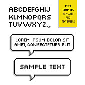 Pixel text bubble and Pixel alphabet. Vector graphics