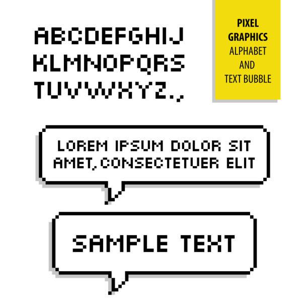 pixel text bubble and pixel alphabet. vector graphics - bubble fonts stock illustrations