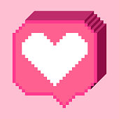 Vector pixel 8 bit 3D pink bubble with white heart like sign. Social networks notification icon.