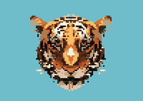 Pixel tiger head pattern background. Illustration EPS 10.