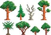 Set of green pixel tree