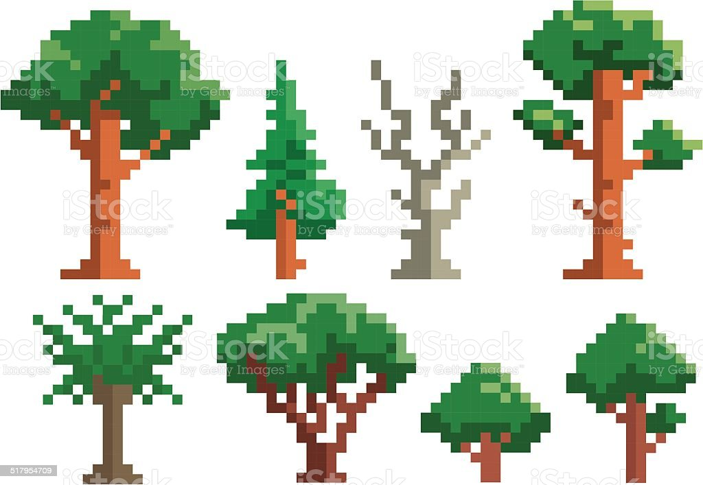 pixel tree vector vector art illustration