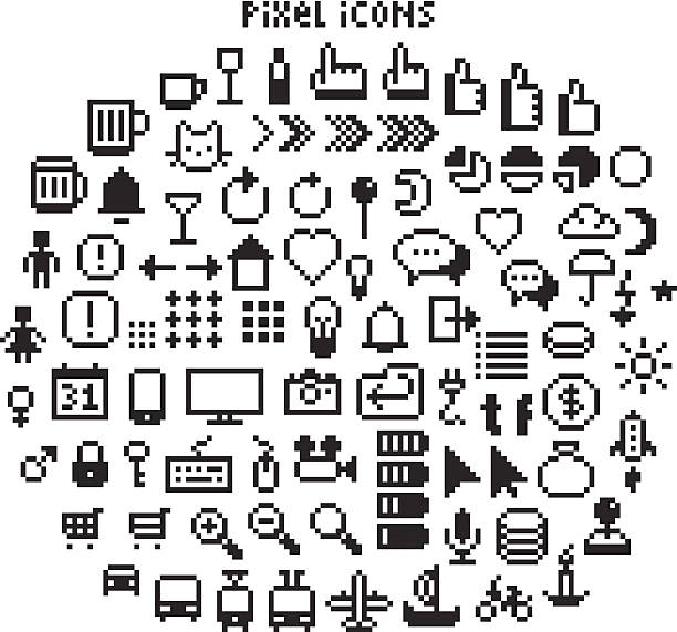 Pixel UI Icons Large set of pixel art 8-bit icons for a smartphone or web. Weather, pointers, smartphone UI, different transport vehicles and other black and white pictograms pixelated stock illustrations