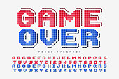 Pixel vector font design, stylized like in 8-bit games. 2 in 1, retro-futuristic, game over sign. Swatch color control.