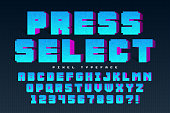 Pixel vector font design, stylized like in 8-bit games. Press select. High contrast, retro-futuristic. Easy swatch color control.