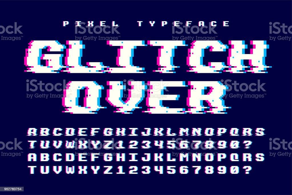 画素ベクトル フォント設計グリッチの効果を持つ。2 の 1 ベクターアートイラスト
