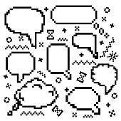 Pixel vector icons set