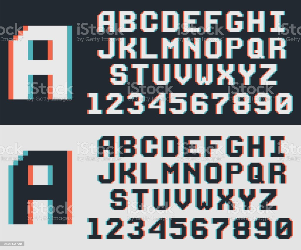 pixel video game font retro 8 bit letters and numbers royalty free pixel