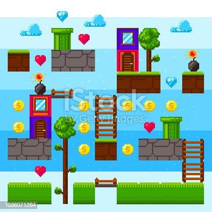 Pixel video game interface. Arcade vintage game. Pixel element foe retro game design. Day level. Pixel game blocks.