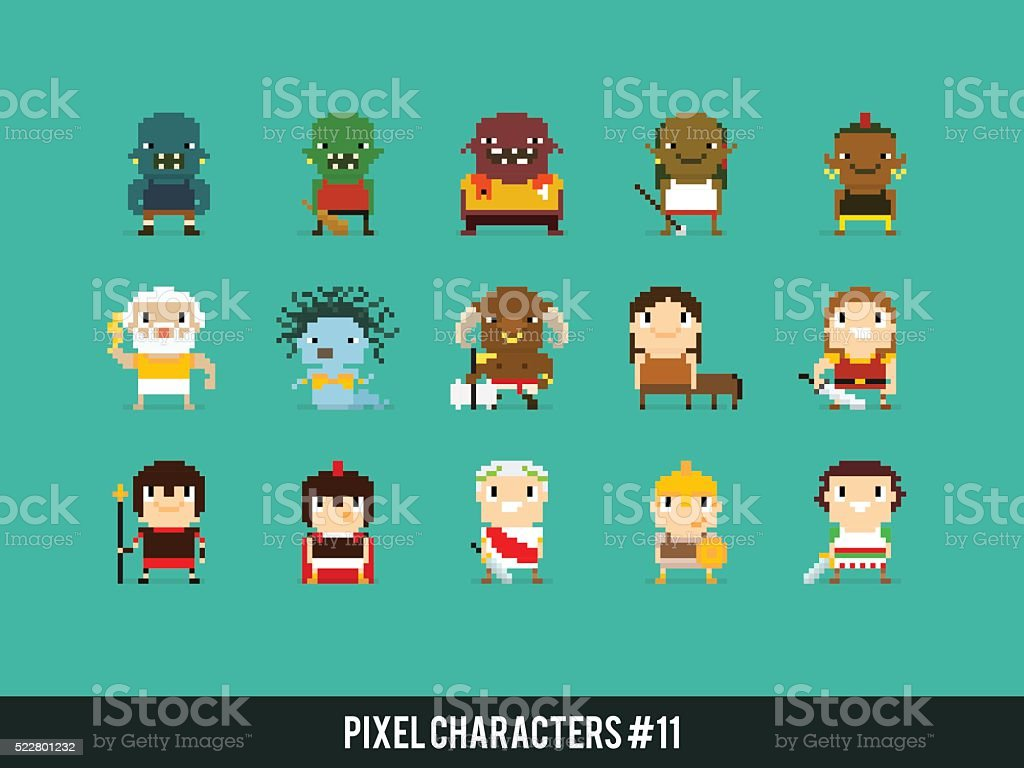 Pixel Warriors vector art illustration