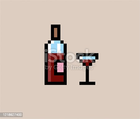 istock Pixel wine bottle and glass 1218627400