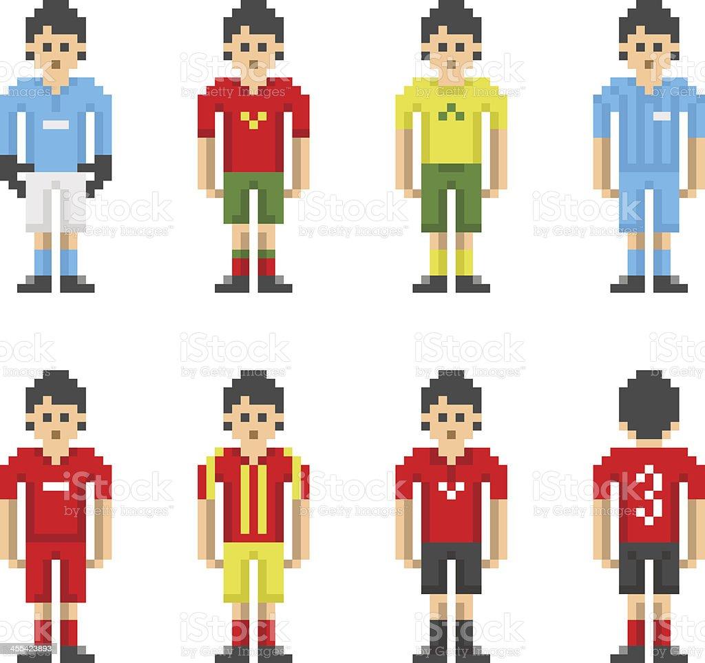 Pixelart Football Soccer Players Stock Illustration
