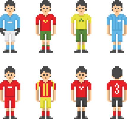Pixel-Art Football Soccer Players