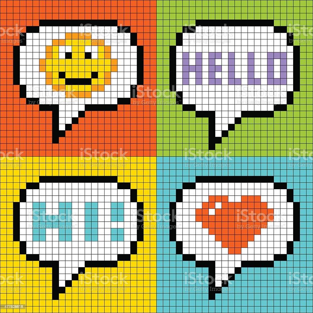 One Line Pixel Art : Pixelart online messaging bubbles stock vector art more