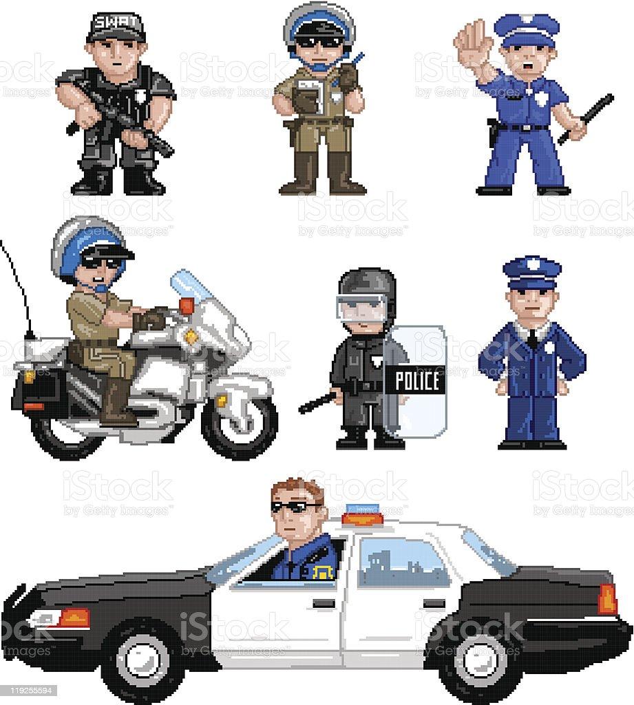 PixelArt: Police Set vector art illustration