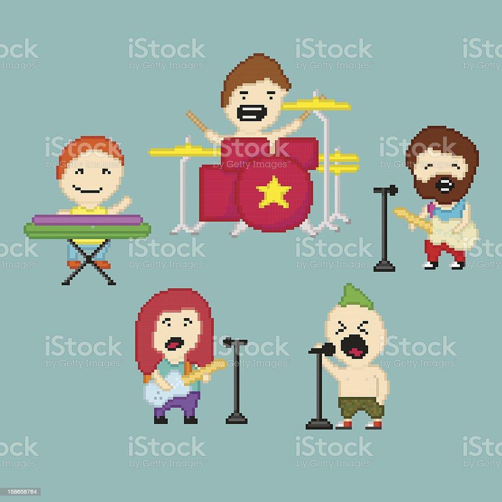 PixelArt rock band royalty-free stock vector art