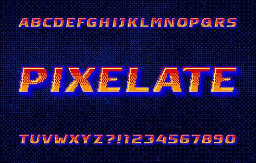 Pixelate alphabet font. 3D digital letters and numbers.