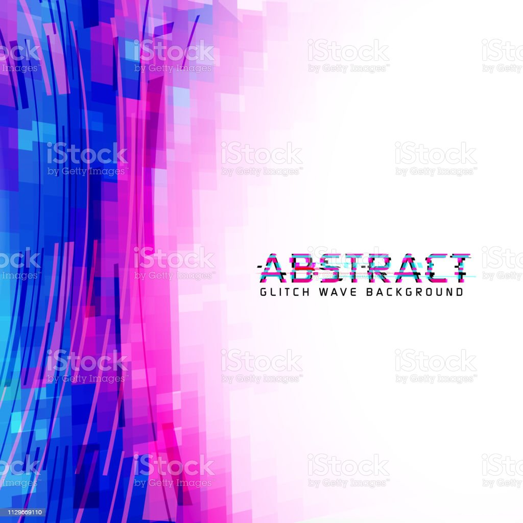 Pixelated abstract background in glitch technique vector art illustration