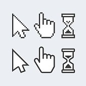 Pixel cursors icons. Vector Mouse hand arrow hourglass. Black and white illustration. EPS 10.