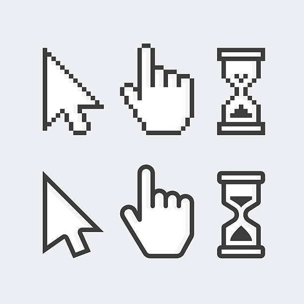 pixelated and smooth vector cursors. - 커서 stock illustrations