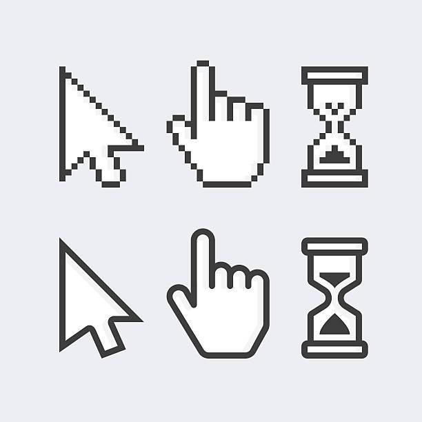 stockillustraties, clipart, cartoons en iconen met pixelated and smooth vector cursors. - menselijke ledematen