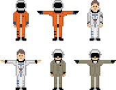 Set of astronaut and military pilot characters in the simple pixel-art graphics on a white background.