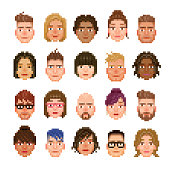 A set of 20 pixelated avatar of different races and styles.