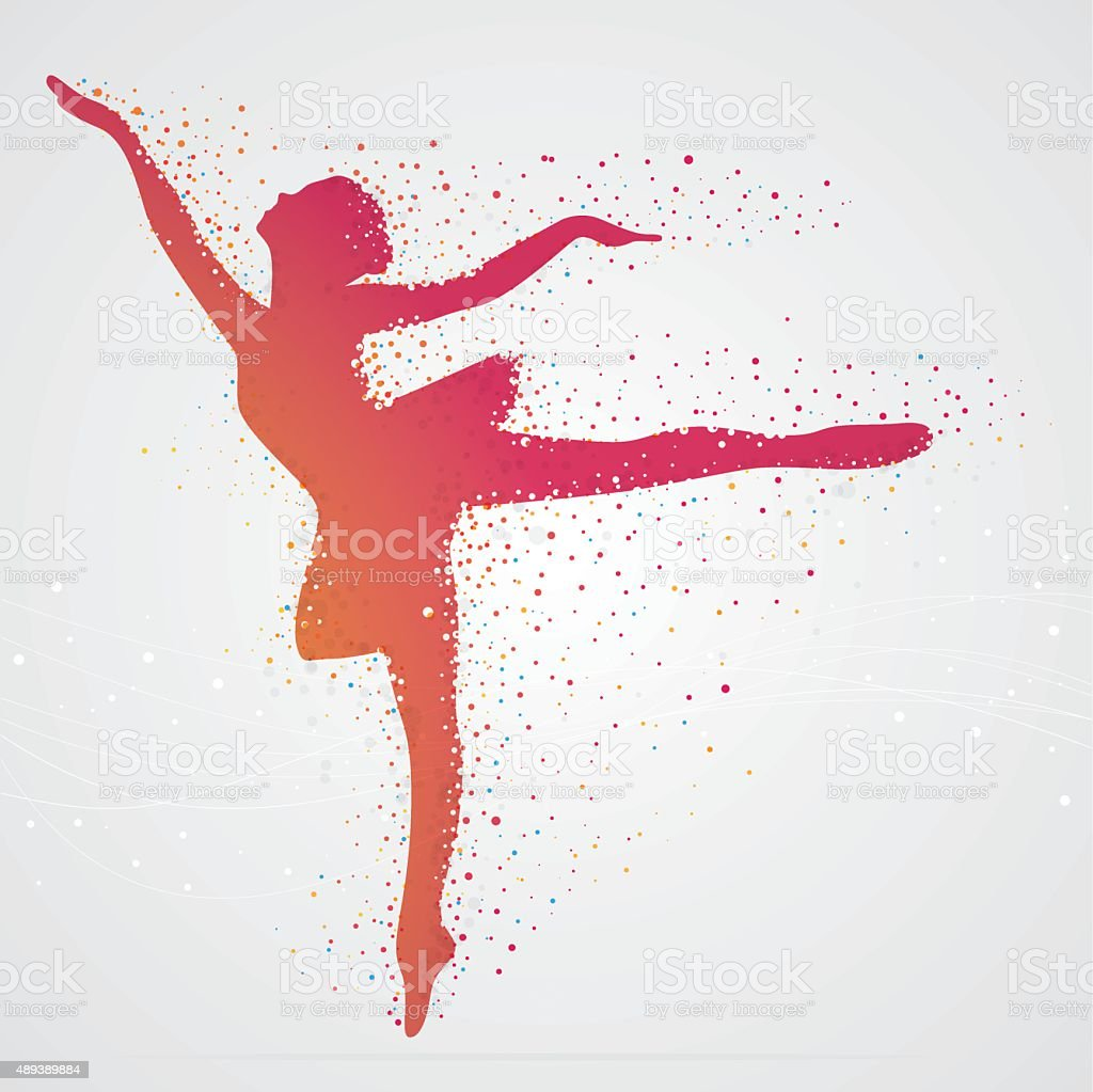 Pixelated ballerina vector art illustration