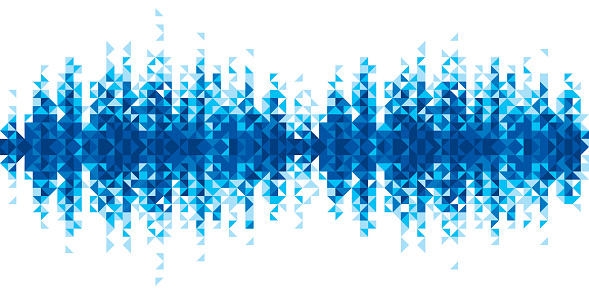 Pixelated blue sound wave against white background