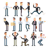 Pixelated businessman set of different races and action.