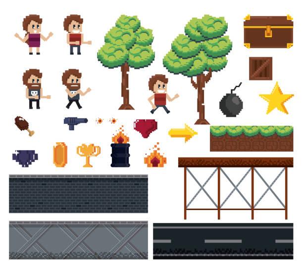 stockillustraties, clipart, cartoons en iconen met korrelig tekens en elementen voor videogames - chicken bird in box