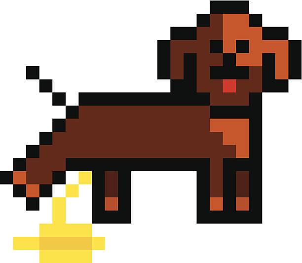 Pixelated dog peeing vector art illustration