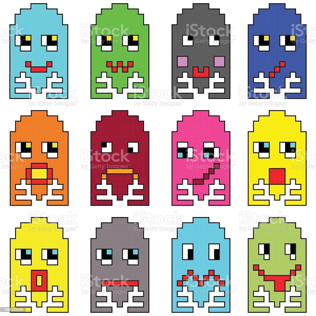 Pixelated  emoticons inspired by video games ilustração de pixelated emoticons inspired by video games e mais banco de imagens de abstrato royalty-free