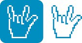 Vector illustration of a pixelated hand forming an I love you sign.