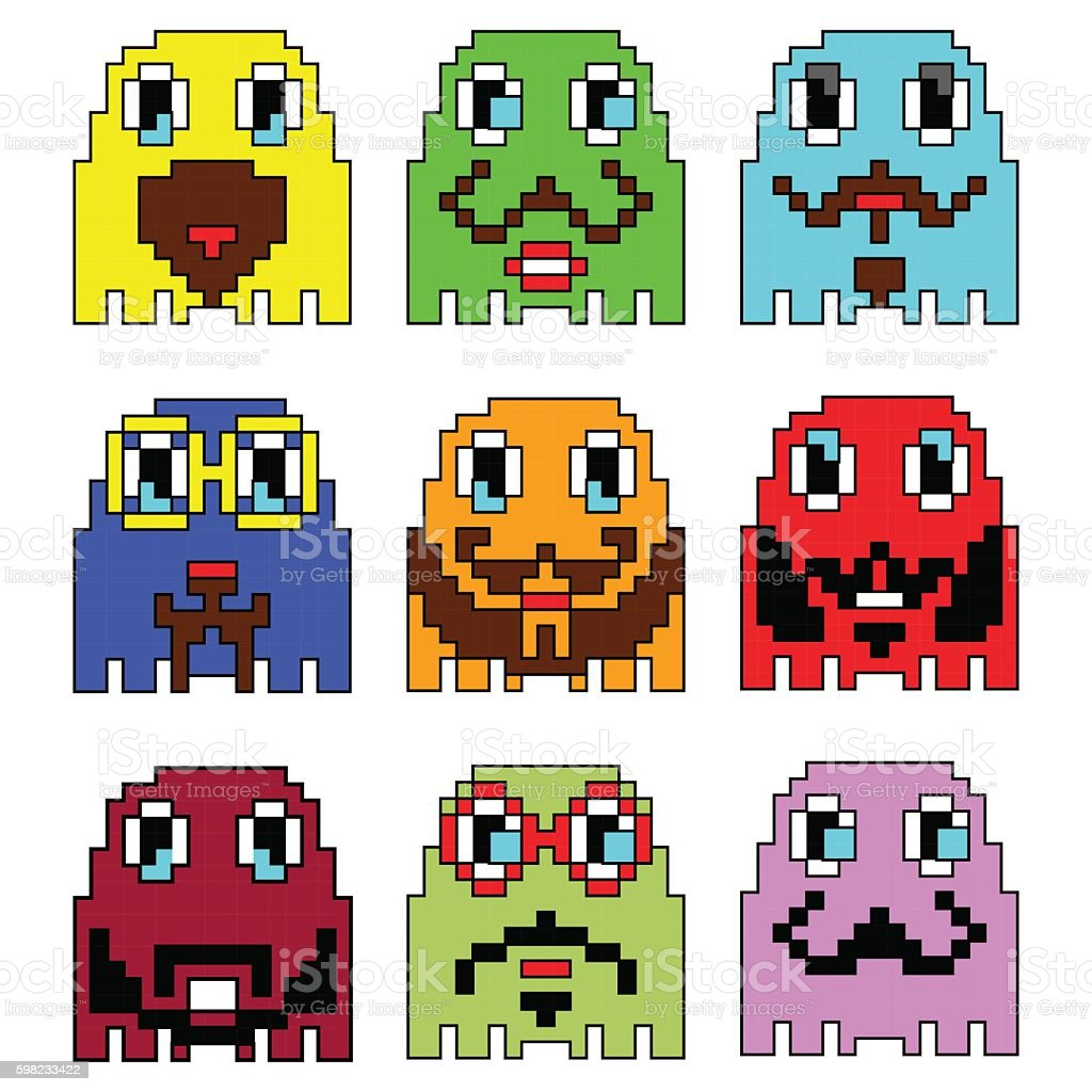Pixelated Hipster emoticons  inspired  by 90's vintage game ilustração de pixelated hipster emoticons inspired by 90s vintage game e mais banco de imagens de 1990-1999 royalty-free