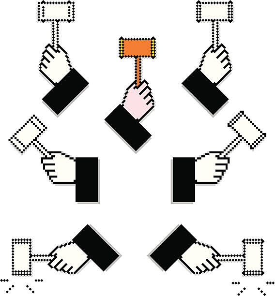 Pixelated Judge Hands with Hammers Set of pixel hands of a court judge with supreme court stock illustrations