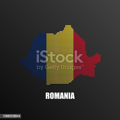 Vector illustration of abstract halftone map of Romania made of square pixels with Romanian national flag colors for your graphic and web design