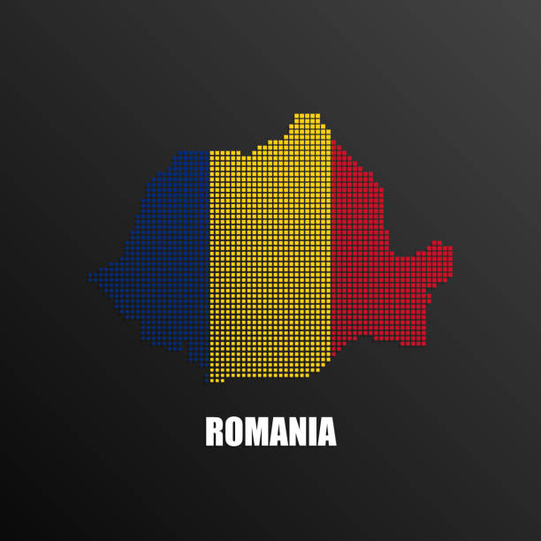 Pixelated map of Romania with national flag Vector illustration of abstract halftone map of Romania made of square pixels with Romanian national flag colors for your graphic and web design romania stock illustrations