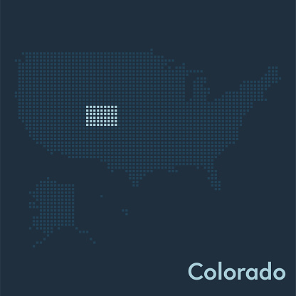 Pixelated map of the USA with Colorado state highlighted