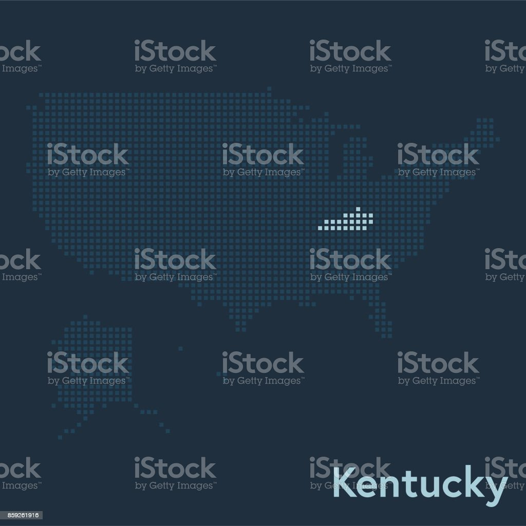 Pixelated Map Of The Usa With Kentucky State Highlighted Stock ... on maryland state map of usa, kentucky on the map, utah state map of usa, kentucky map with counties marked, houston map of usa, kentucky state road maps,