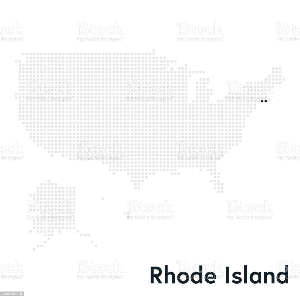 Pixelated Map Of The Usa With Rhode Island State Highlighted stock ...