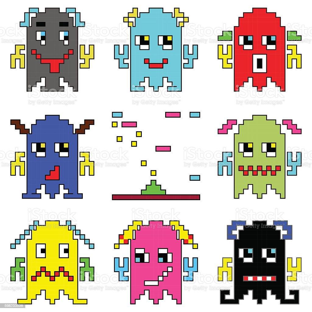 Pixelated robot emoticons and shooting spaceship ilustração de pixelated robot emoticons and shooting spaceship e mais banco de imagens de 1990-1999 royalty-free