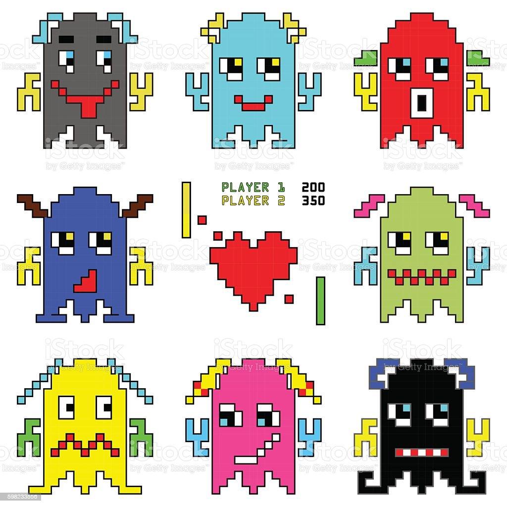 Pixelated robot emoticons with shooting spaceship and heart element ilustração de pixelated robot emoticons with shooting spaceship and heart element e mais banco de imagens de abstrato royalty-free
