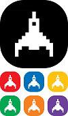 Pixelated Rocket icon set