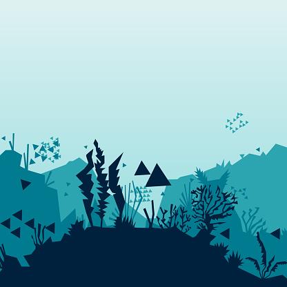 pixelated underwater world. Algae and fish. Open world. Vector
