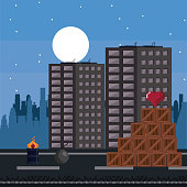 Pixelated urban videogame