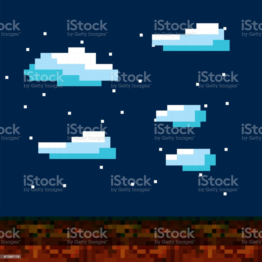 pixelated video game icons vector art illustration
