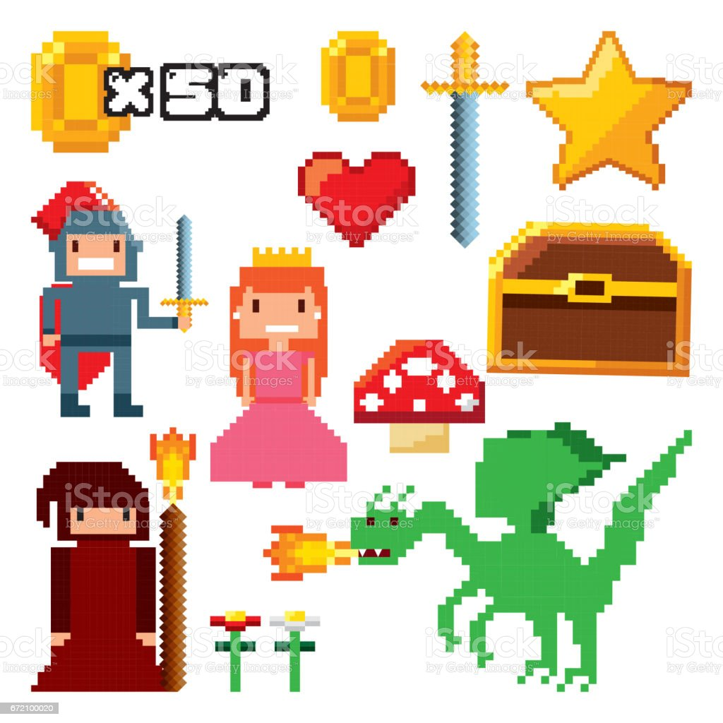 pixelated video game icons royalty-free pixelated video game icons stock illustration - download image now