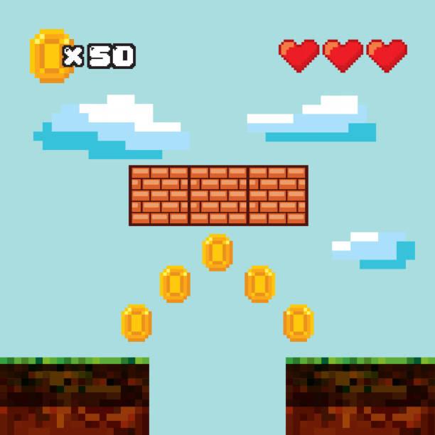 pixelig-Videospiel-Ikonen – Vektorgrafik